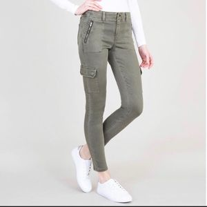 Level 99 Brooklyn Sateen Cargo Pants Olive Green
